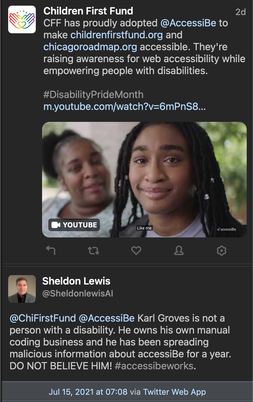 A Twitter thread by a group that uses AccessiBe and a troll account tweeting disparaging remarks about Karl Groves, a long time accessibility professional.