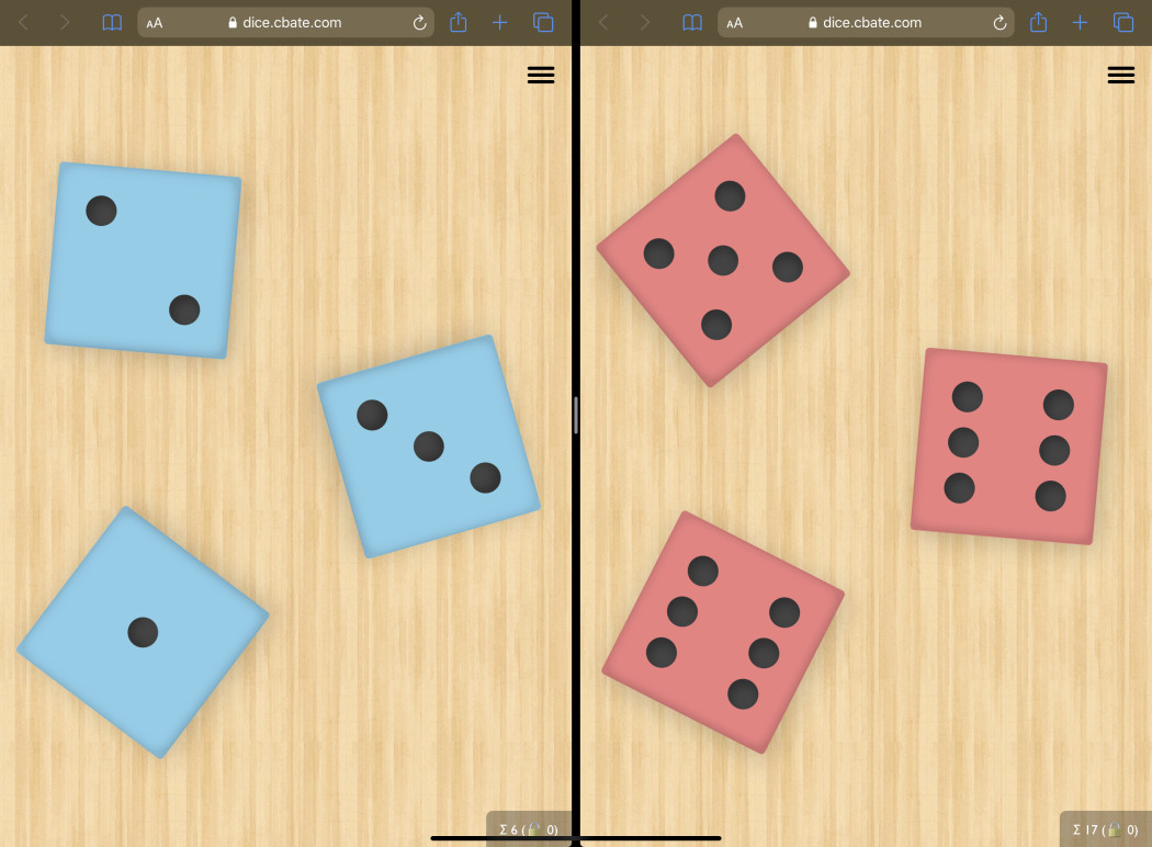 Two Dice apps with different color dice