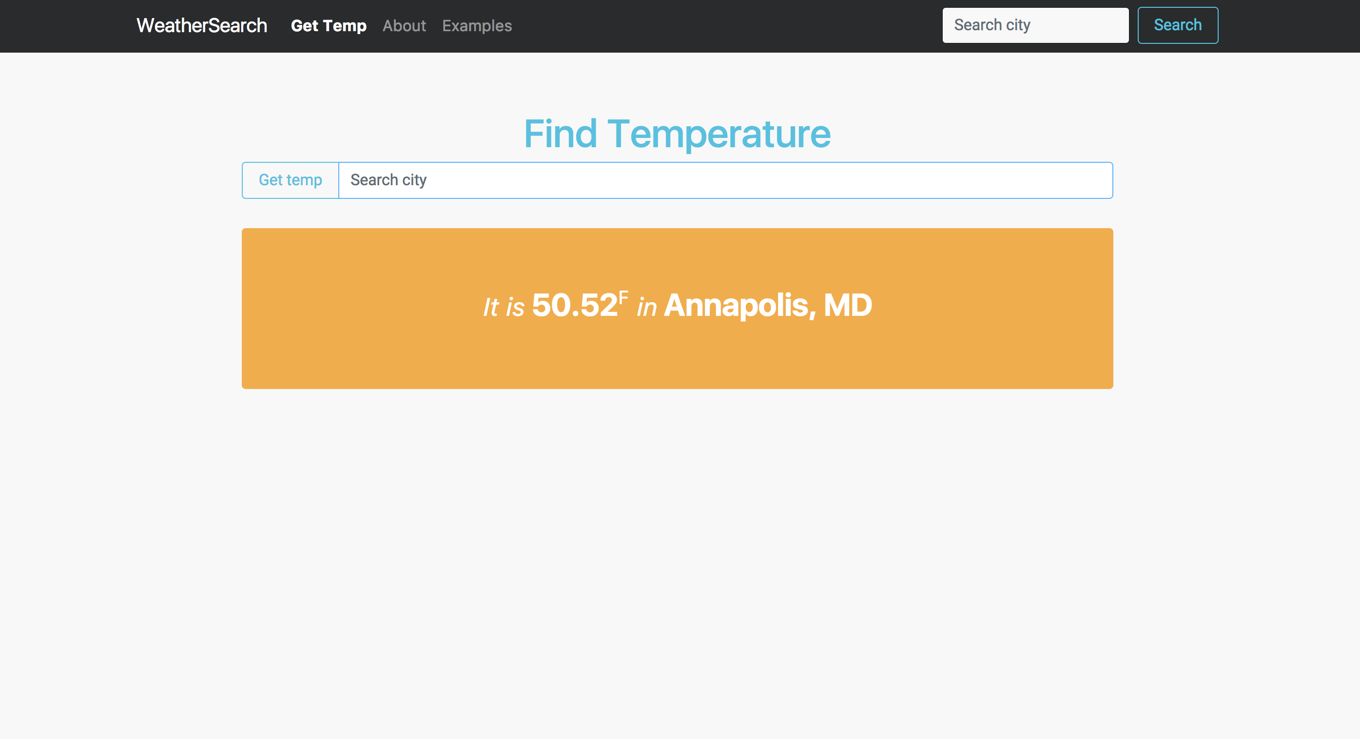 ReactJS Temperature Search