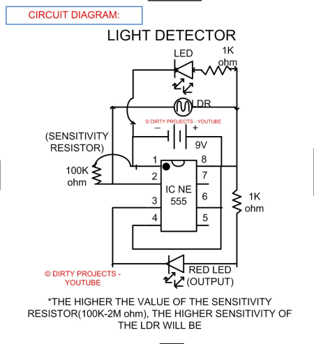 LIGHT DETECTION OR DETECTOR USING IC 555 TIMER AND LDR