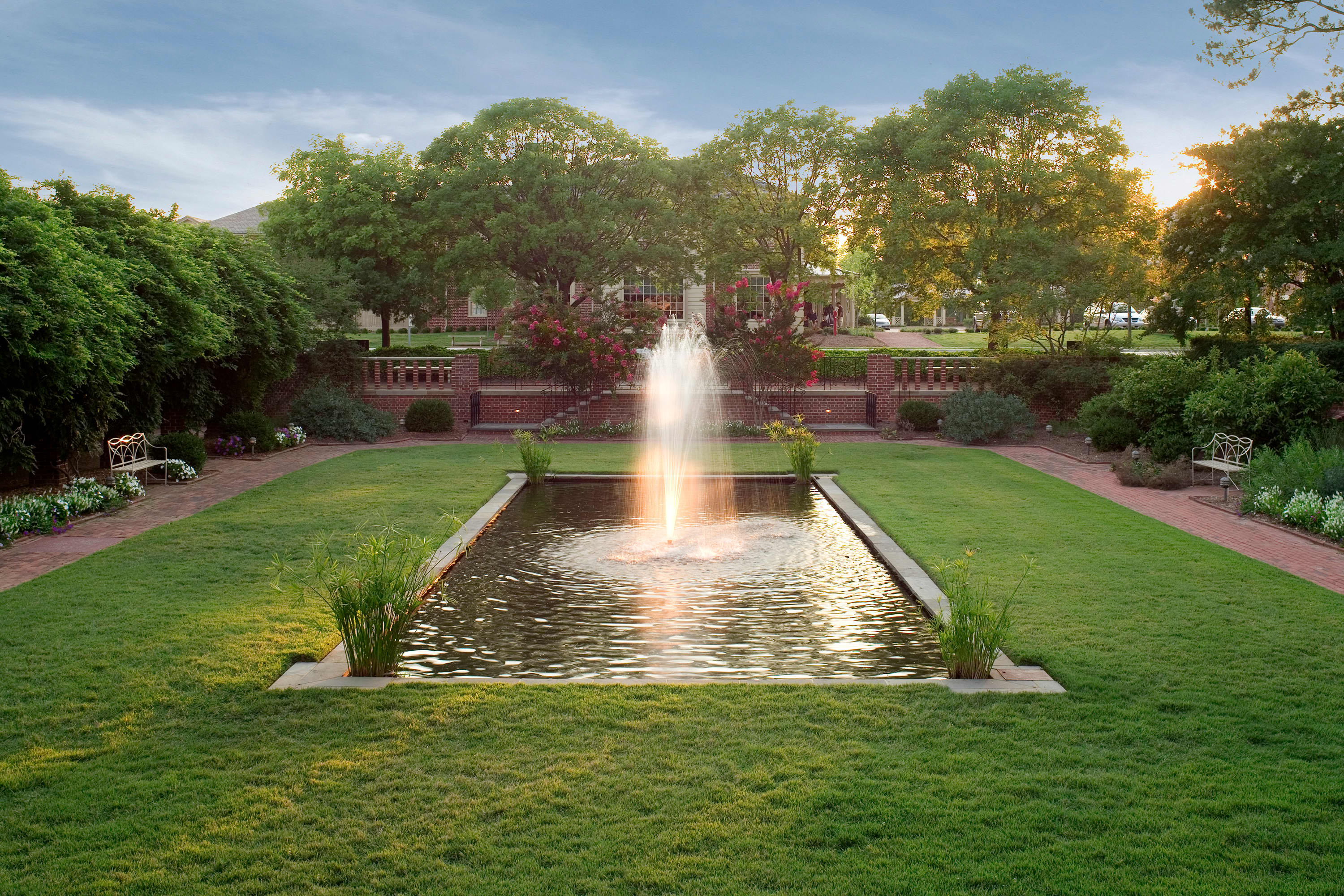 The Fountain Garden at sunset