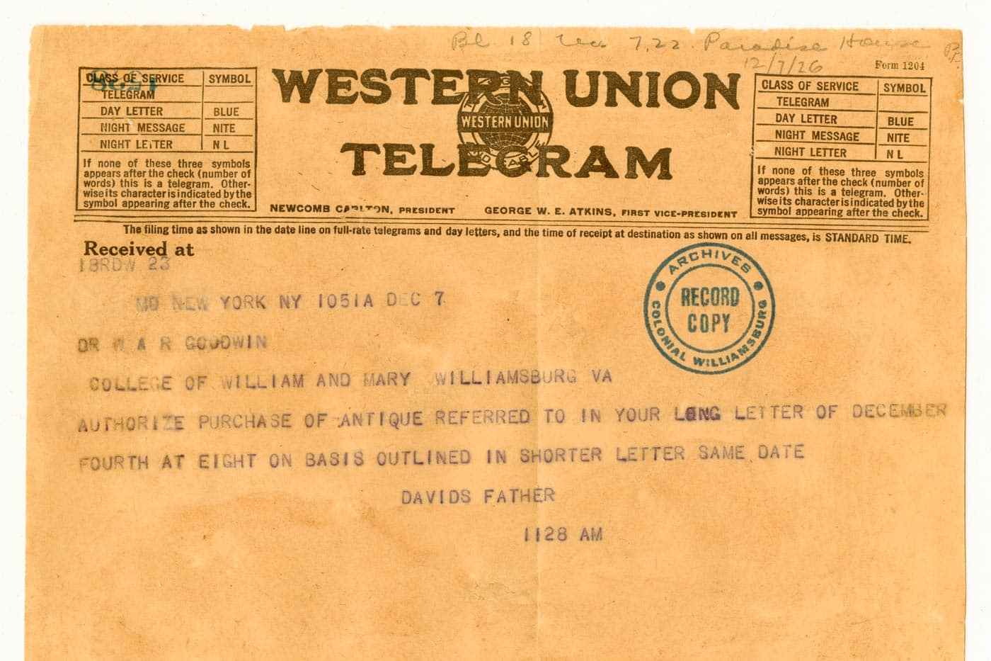 One Telegram That Inspired a Dream