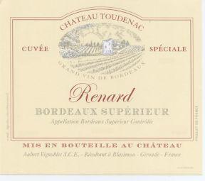 CHATEAU TOUDENAC RENARD 2016 - AOC BORDEAUX SUPERIEUR