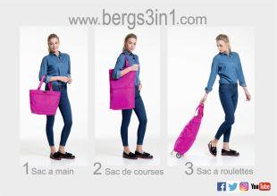 Bergs 3en1 - Le Bergs3en1 est un sac multifonctionnel qui grâce à ses deux fermetures éclair se transforme instantanément d'un sac à main type cabas en un sac de plus grand format ou encore en un chariot de course.