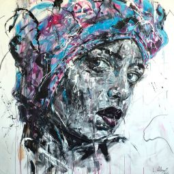 SENSE OF SELF - Acrylic and charcoal on canvas 150x150cm