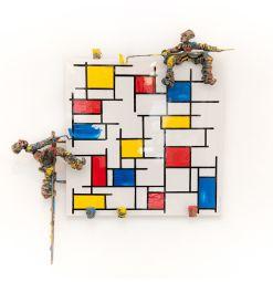 MONDRI RIANT - Type : Tableau Sculpture Support : Métallique laqué Technique : Résine, patine bronze, acrylique Oeuvre unique Dimensions : 60x60 cm