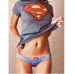 SUPERWOMAN - Type : Photomosaïque Support : Chassis Aluminium  Encadrement : Diasec  Dimensions : 125x94 cm
