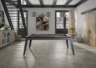 ALLURE BILLIARD - Both heir to the tradition of master billiards and great furniture designers, the RENE PIERRE House occupies a special place in the world of billiards. Since 1952 in its small workshop in the Jura and now in its ultra-modern 7000 m² factory, Maison Rene Pierre has been reinventing table football and billiards every day The ALLURE billiard table is the newborn of Maison Rene Pierre. Combining iron and wood, this billiard table will seduce you with its original shape. Maison Rene Pierre works with the greatest professionals who choose the best materials for it to ensure optimum quality. With 16 finishes available, this magnificent billiard table will transform into a dining table and fit perfectly into your interior. What a pleasure after an excellent meal, once the 3 parts table top removed, to play pool with friends. Available in 6 'and 7' version,