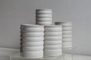 Ondulate pot - Concret pot Handmade Accessory : bathroom, office