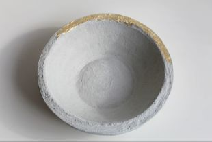 Concret cup - Grey concret cup, gold pointed Handmade