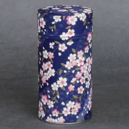 Washi tea tin Soshino - Tea tin covered with Japanese paper (washi) by hand. French creation. Double lid. Diameter: 8.3cm (3,27″) Height: 17cm (6,69″)