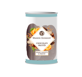 Fruity chocolate : sesame, hazelnut, orange - Delicious fine chocolates sprinkled with sesame, hazelnut and orange chips.