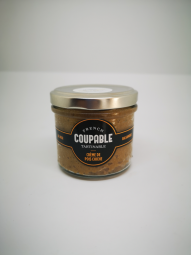 Chickpea and Black Garlic Paste - A 100g jar of chickpea and black garlic paste. A recipe elaborated by French Coupable Tartinable.  Indications : deadline optimal use 24 months, keep away from air and light.