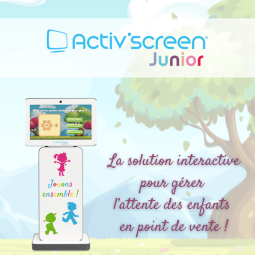 ACTIV'SCREEN® JUNIOR - ACTIV'SCREEN® offers their optician-clients the opportunity to create their digital Kids Corner in a few minutes. This interactive ready-to-use solution is designed to manage the waiting time of children, starting from 3 years of age. Small and compact, this customizable solution provides a series of educational and multi-level games. ACTIV'SCREEN® JUNIOR will captivate kids as well as adults. With multi-player and multi-level games based on the optical sector, the children enjoy themselves whilst waiting, leaving their parents to be more comfortable and attentive towards the optician. Benefits of ACTIV'SCREEN® JUNIOR:  - Compact Plug & Play solution; - Multi-level and multi-player games; - Interchangeable and customizable covers; - Available in 2 colors: yellow and grey.