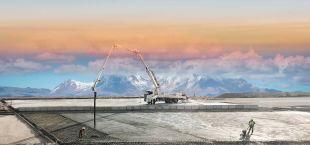 Concrete Pump - Les pompes à béton montées sur camion, qui peuvent distribuer du béton entre 130m3 et 140m3, livrent du béton jusqu'à une hauteur de 56 mètres.
