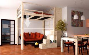 Mezzanine électrique RISING - Mezzanine en hêtre massif lamellé réglable en hauteur adaptée au plafond standard