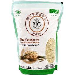 """Mon Riz Complet Thai BIO - Plus qu'important, le riz est fondamental dans la cuisine asiatique. C'est l'élément essentiel et il doit être parfait. C'est pour cette raison que nous vous avons sélectionné le meilleur.  Le riz """"Thai Hom Mali"""" est un grain long, naturellement parfumé, et cultivé dans le plus grand soin dans la région nord de Thailande. En plus du riz blanc, le riz complet possède encore la membrane recouvrant le riz, apportant une touche de noix dans la saveur."""