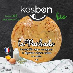 La Pachade BIO - Real Auvergne crepe made with local ingredients and French channels including 100% small spelled flour and shell eggs. Recipe made with the Meilleur Ouvrier de France Christian Vabret, Boulanger-Patissier from Cantal.    To be enjoyed plain, salty or sweet.