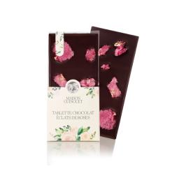 Tablette fleurie éclats de roses - Fine tablette de chocolat noir ou lait fleurie de croustillants pétales cristallisés de roses.
