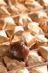 Marrons glacés - The marrons glacés (glazed chestnuts) are a product of exception really famous during Christmas period.  Indiviually wrapped, they keep a drop of syrup inside.