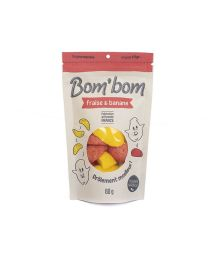 Bom'bom Strawberry banana - Inspired by famous marshmallow candies coated with sugar, Bom'bom are renewing the confectionery department and are available in fruity recipes, and in eco-responsible packaging. Very soft and with a good taste of fruit, these artisanal candies are made with natural flavors and natural colors.