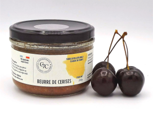 Beurre de Cerises - Une des saveurs des Beurres de Fruits des Conserveries des Sept Collines. La gourmandise de la cerise dans une pâte à tartiner riche en fruits (74%). A déguster au petit-déjeuner ou au goûter sur une crêpe tiède.