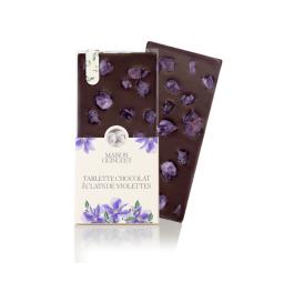 Tablette fleurie éclats de violette - Fine tablette de chocolat noir ou lait fleurie de croustillants pétales cristallisés de violettes.