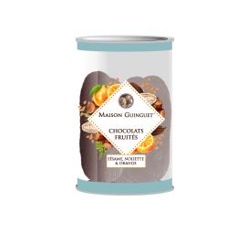 Fruity chocolate : sesame, hazelnut, orange - Delicious fine chocolates sprinkled with sesame, hazelnut and orange chips.