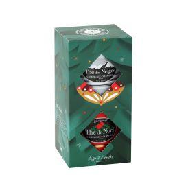 Coffret Noël 100g /Neiges 90g - Coffret de 2 grandes boites luxes: - Thé de Noël® est le mélange original et exclusif de la fin de l'année, dévoilant des saveurs subtiles de cerise et d'amande parsemé de pétales de bleuets. Peut contenir des traces de sulfites. - Thé des Neiges® est un mélange exclusif délicat de thé blanc PAI MU TAN et de thés verts aux arômes fruités et gourmands de pomme cuite et fruits rouges, parsemés de pétales blancs qui rappellent la beauté des sommets enneigés.