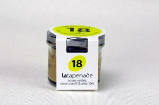 Green Olive Tapenade with Candied Lemon and Almond - Rediscover the tapenade! An unusual combination of the delicate and fresh taste that all lovers of green olives adore, infused with a hint of candied lemon, and crunchy almonds, softened on a base of fresh cream cheese. Use it to enhance dishes such as fresh pasta, green salad, steamed vegetables, simply as an aperitif on a slice of fresh bread, or to make a dip or poultry stuffing. Net weight 90 gr - Packing : By 12 units