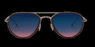 CLAUDE - 395 - Fine monture en métal palladium, galvanisée à l'or fin 22 carats. Présence d'une chantilly en acétate, couleur bordeaux. Spatules au bout des branches, couleur bordeaux. Plaquettes en titane.