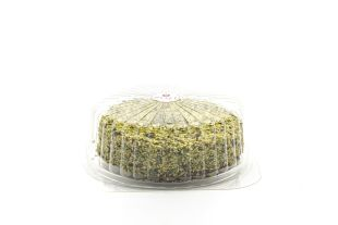 Pistachio cake - A pistachio cake, covered with chopped pistachio and filled with pistachio cream. Ideal for any occasion (a birthday, a dinner, etc.), an irresistible taste for everyone.