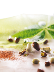 Pistachios with 2 chocolates - A lightly roasted pistachio combined with a tasty milk chocolate from Papua 37%, with notes of smoked wood, or with a creamy white chocolate with a note of spirulina.