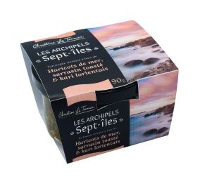 """Archipels : Sept-îles - """"Archipels"""" spreads invite you to discover the original and authentic flavors of our magnificent region: Brittany. Take sea beans harvested by hand in northern Finistère, toasted buckwheat seeds and Lorient kari: you get a tasty recipe to taste on toast, as an accompaniment to your dishes, with a sauce base ... Kalon digor ! Enjoy your meal ;-)"""