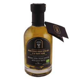 Organic extra virgin olive oil with black truffle - A French and organic extra virgin olive oil selected for its aromatic quality, enhanced with the delicate flavour of truffle (Tuber Melanosporum), the black diamond of Provence ! To be enjoyed with salad, carpaccio, risotto, fresh pasta or mashed potato.