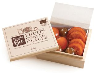 Wood box Organic Candied Fruits - Coming from a demanding selection of the raw materials, our fruits are slowly candied to preserve their taste and texture.  Organic, they are packed in a wood box to please all our demanding customers.