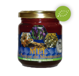 """HONEY FROM PARQUE DE MONTESINHO DOP/MPB - """"Mel do Parque"""" is a multi-flower mountain honey, produced in Montesinho Park, located in the region of Bragança, northeast of Portugal. The Multi-flower honey with predominance of Heathers, Rosemary and Chestnut, along with the following representative species from the regional flora: Arbutus; Cistus Ladanifer; Echium; Rosemary; Cork-oak and holm-oak; Silva; Willow; Thyme and Clovers. Taste - Strong, persistent with a well-balanced combination between the sweet, the salty and the bitter. Aroma - A profile of complex aromas, with floral and fruity expressions; combined by dry woods and a soft caramel taste that holds the aromas. The finish is persistent and long. Tact - Soft, sensation of """"fine crystals"""" due to the natural and slow crystallization, which may lead, during the heather predominance, to a sensation of astringency in the mouth. Colour - This """"Mel do Parque"""" has an accentuated dark color (above 7 on the Pfund scale) and is located in the spectrum of amber (golden to dark), bright, clear and with greenish and red nuances.  Certification - The honey of Montesinho Park - DOP (Protected Designation of Origin) is certified by Tradition and Quality – Interbranch Association for the Agri-Food Products of Trás-os-Montes. The MPB (Organic Production Method) control of """"Mel do Parque"""" of Montesinho is under the responsibility of SATIVA - Control and Certification (PT BIO 003). The Protected Designation of Origin (DOP) is registered and protected by the Regulation (CE) Nº 1107/96 of 12.06."""