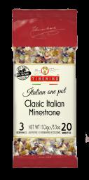 """Soupe """"Minestrone"""" - Les italians adorent le repas one-pot de Tiberino. Les repas one-pot de Tiberino sont les meilleurs plats cuisinés en raison de leur goût unique et frais grâce à 100% ingrédients naturels de première qualité dont ils sont faits. Nous avons sélectionné une large gamme de plus de 50 recettes pour offrir à chacun une véritable expérience gastronomique italienne à la maison. Les repas one-pot de Tiberino sont:   Fabriqué en Italie                Cuisine facile  100% naturel                      Sans ingrédient supplémentaire  SANS OGM                          Durée de conservation 24 mois  À base de plantes                 Emballé sous vide Ingrédients premium de l'UE      Végétalien"""
