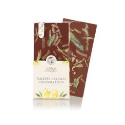 Tablette fleurie éclats de verveine citron - Fine tablette de chocolat noir ou lait fleurie de croustillants pétales cristallisés avec des feuilles de verveine et des zestes de citron