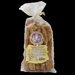 Tarallini au Piment - Authentiques tarallini pugliese artisanaux confectionnés à San Severo (Italie-Puglia), le tarallino est l'indispensable des apéritifs réussis. Un biscuit salé et croquant au goût intense de piment.   Poids : 300g