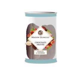 Chocolats fruités : noisette, cranberry - De délicieux chocolats parsemés d'éclats de noisettes et de cranberry.