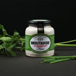 La moutarde aux fines herbes Pommery® 100g - Cette moutarde tamisée préparée dans la tradition des meilleures moutardes de Dijon, révèlera toutes les saveurs aromatiques de votre jardin. Ciboulette, persil et estragon s'associent pour accompagner tout type de préparation culinaire.  Cette moutarde est conditionnée en pot grès de 100g avec une capsule en plastique.