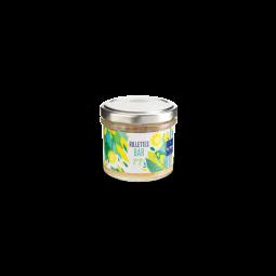 Rillettes de bar au Yuzu - Évasion vitaminée, cette rillette marie la finesse du bar avec l'acidité et les notes de cédrat du yuzu. Des pointes d'agrumes viennent exacerber les papilles pour contraster avec la douceur du bar créant ainsi une harmonie savoureuse et fruitée.