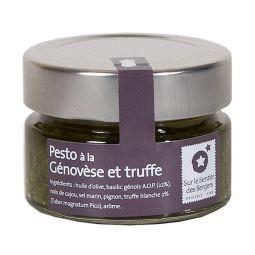 Pesto à la Génovèse et Truffe - Riche en saveur, ce pesto à la Génovèse et à la truffe blanche d'été est 100% naturel. Origine : Région du Piémont, Italie Existe en 100g et 200g.