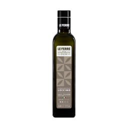 """LECCINO - Leccino Extra Virgin Olive Oil LE FERRE it's a delicate oil with a fruity aroma. Sweet flavour and almondy aftertaste. Leccino, with its light flavour, is excellent with tomatoes, vegetables, fish, salad and dips. Ideal to complete the traditional """"bruschetta"""". We suggest to use it for sweet recipes and childhood's food. 100% Italian Extra Virgin Olive oil. It's available in two sizes in the glass dark green """"Marasca"""" bottles 0,5L and 0,1L."""