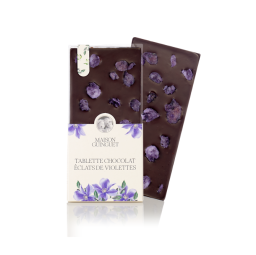 Chocolate bar with violet pieces