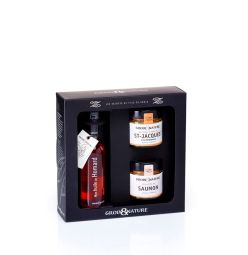SECRETS DE L'ILE DE GROIX - This set reveals a perfect match of three exceptional recipes. Discover the delicacy of the Scallops and the flavors of the Scottish Salmon associated with our emblematic Lobster Oil. Genuine culinary help, it is ideal to sublimate your dishes.