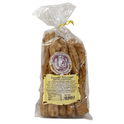 Tarallini with Chili - Genuine artisanal Pugliese tarallini made in San Severo (Italy-Puglia), the tarallino is the essential for successful aperitifs. A salty, crunchy biscuit with an intense chilli taste.   Weight: 300g