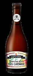 CAP D'ONA BLANCHE NEIPA YUZU GRENADE BIO - Bière NEIPA purs fruits Yuzu Grenade, à la fois troublante atomique et ultra rafraichissante. 100% BIO, naturelle, gorgée de céréales, de fruits frais acidulés et houblonnée,  (unique au monde : 1kilo de fruits frais bio travaillés, pour 1 litre de bière brassée). Elle est à la fois explosive et gourmande en bouche, de par le travail sur les houblons, le yuzu, et le pur jus de grenade. Aucun arôme ni sucre ajouté.