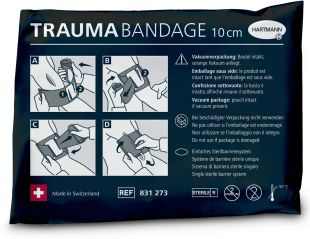 TRAUMA BANDAGE - <p>TRAUMA BANDAGE comes in a compact vacuum package which is air-, water- and gas-tight. Owing to the tear tab, the pouch is easy to open, even in stressful situations. TRAUMA BANDAGE is available in three widths of 10, 15 and 20 cm. Thanks to the length of 4,5 m of the stretched bandage, the product can be applied on various body parts.</p>